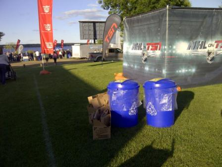 recycling bins setup at a TSN sporting event