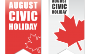 two read and white banners with maple leaf and text August Civic Holiday