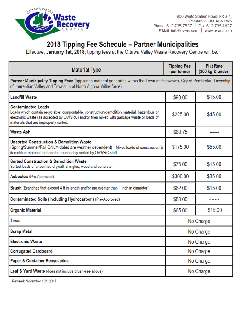 image of the 2018 tipping fee schedule