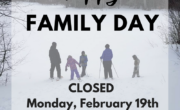winter picture with family and text stating OVWRC is closed on Family Day