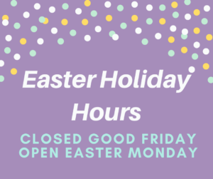 purple background with text stating easter hours