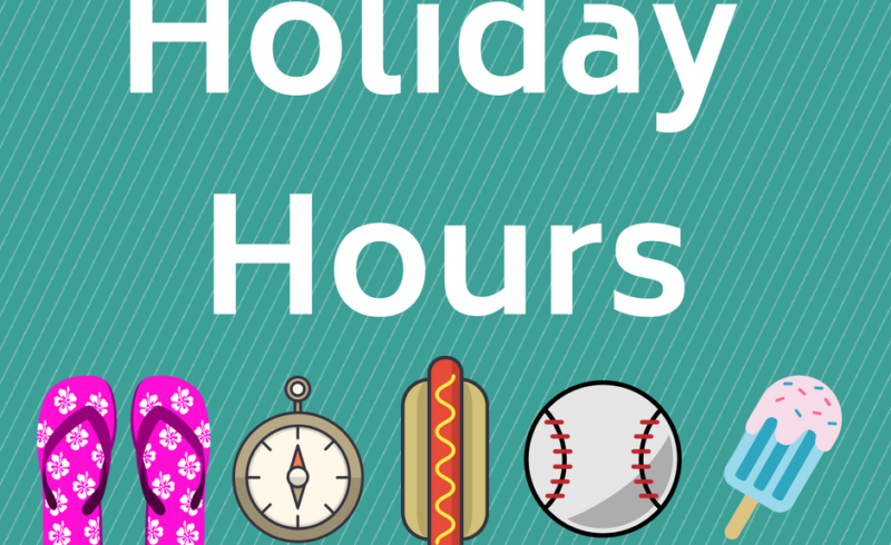 graphic showing flip flops compass hotdog softball and popsicle with text holiday hours