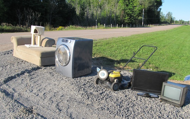 large item setout coach washer lawnmower
