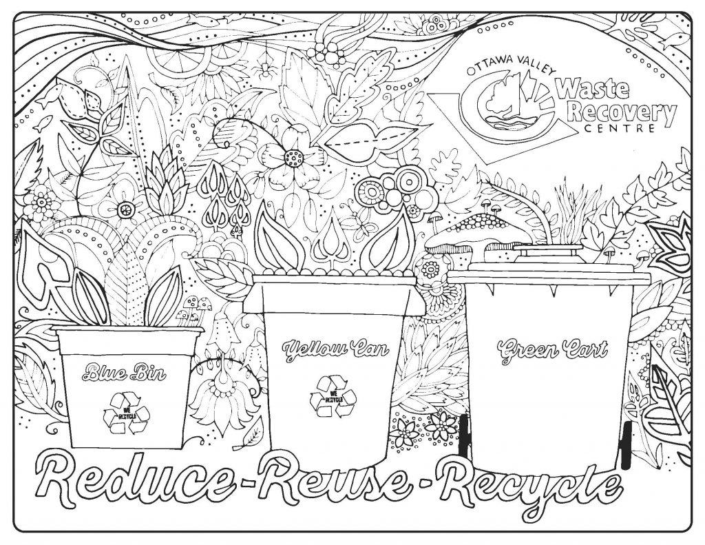Reduce Reuse Recycle Doodle coloring page | Free Printable ... | 791x1024