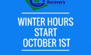 picture with blue background and text winter hours start october 1st