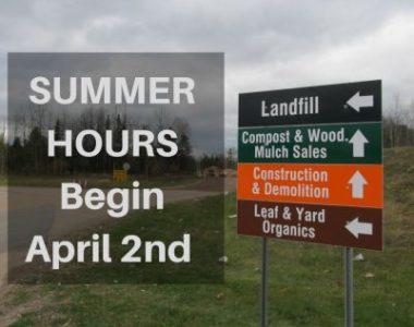 Summer Hours – Start April 2nd