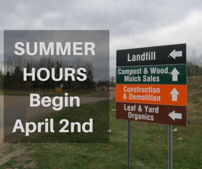 picture of directional signage at OVWRC with text summer hours begin April 2nd