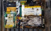 burnt tablet electronics and inside of tablet exposed melted plastic
