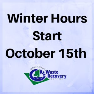 blue background with text winter hours start October fifteenth and ovwrc logo