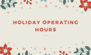 christmas background with flowers and text holiday operating hours