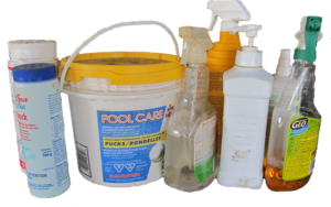 group of chemicals in containers