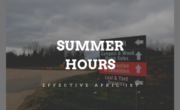 picture of site in background with text summer hours effective April 1
