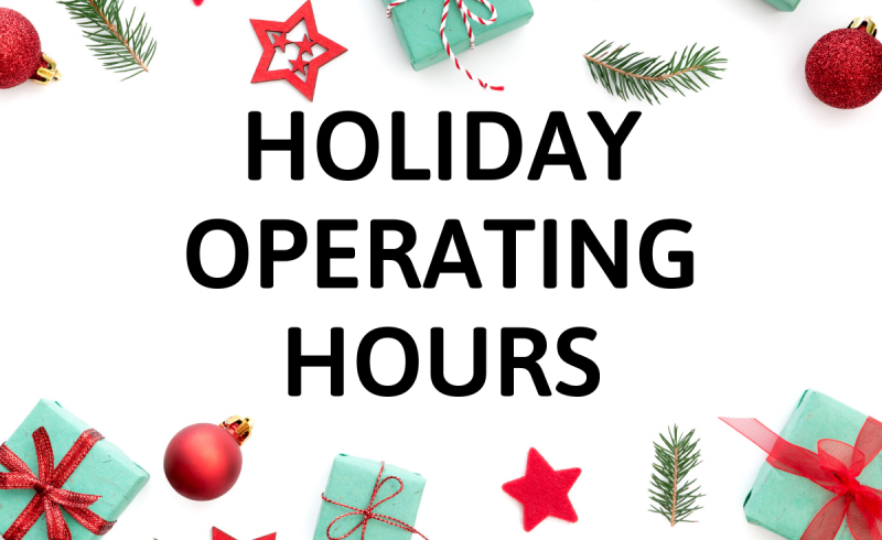 gifts ribbons stars with text Holiday Operating Hours
