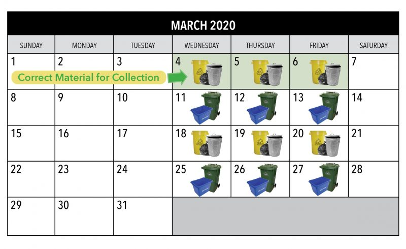 month of March showing correct collection items