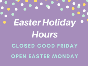 purple square with text of easter holiday hours
