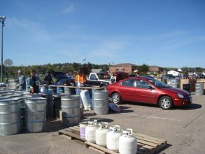 cars lined up dropping off hazardous waste