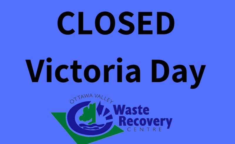 text Closed Victoria Day on blue background