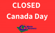 red background with text Closed Canada Day