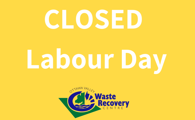 yellow background with text Closed Labour Day