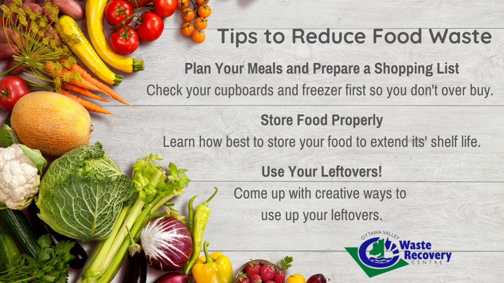 food in background with tips to reduce food waste.