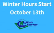 blue background with text winter hours start october 13