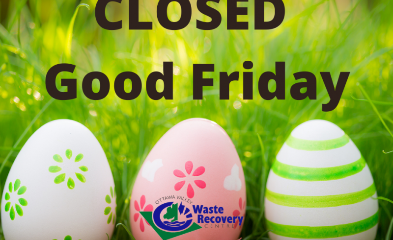 Colorful Easter eggs on background of grass with text closed Good Friday.