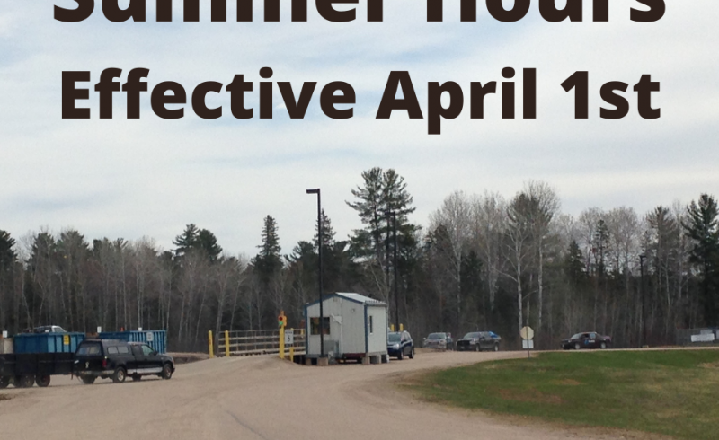 OVWRC scale house with inbound and outbound traffic lined up with text summer hours effective April 1.
