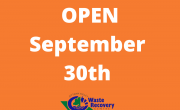 Orange background with text OPEN September 30.